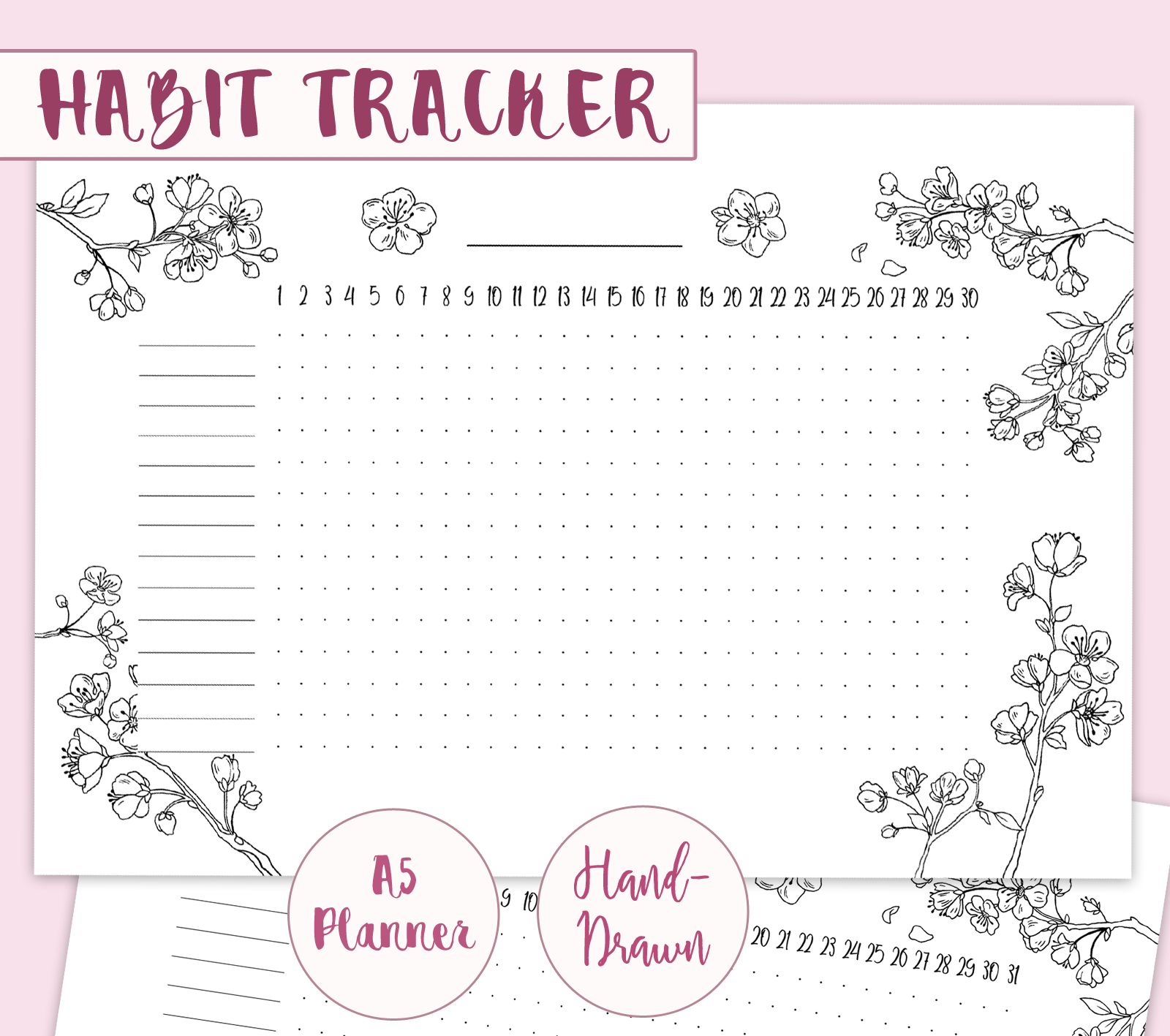 Spring Bullet Journal Layout Cherry Blossoms Evydraws