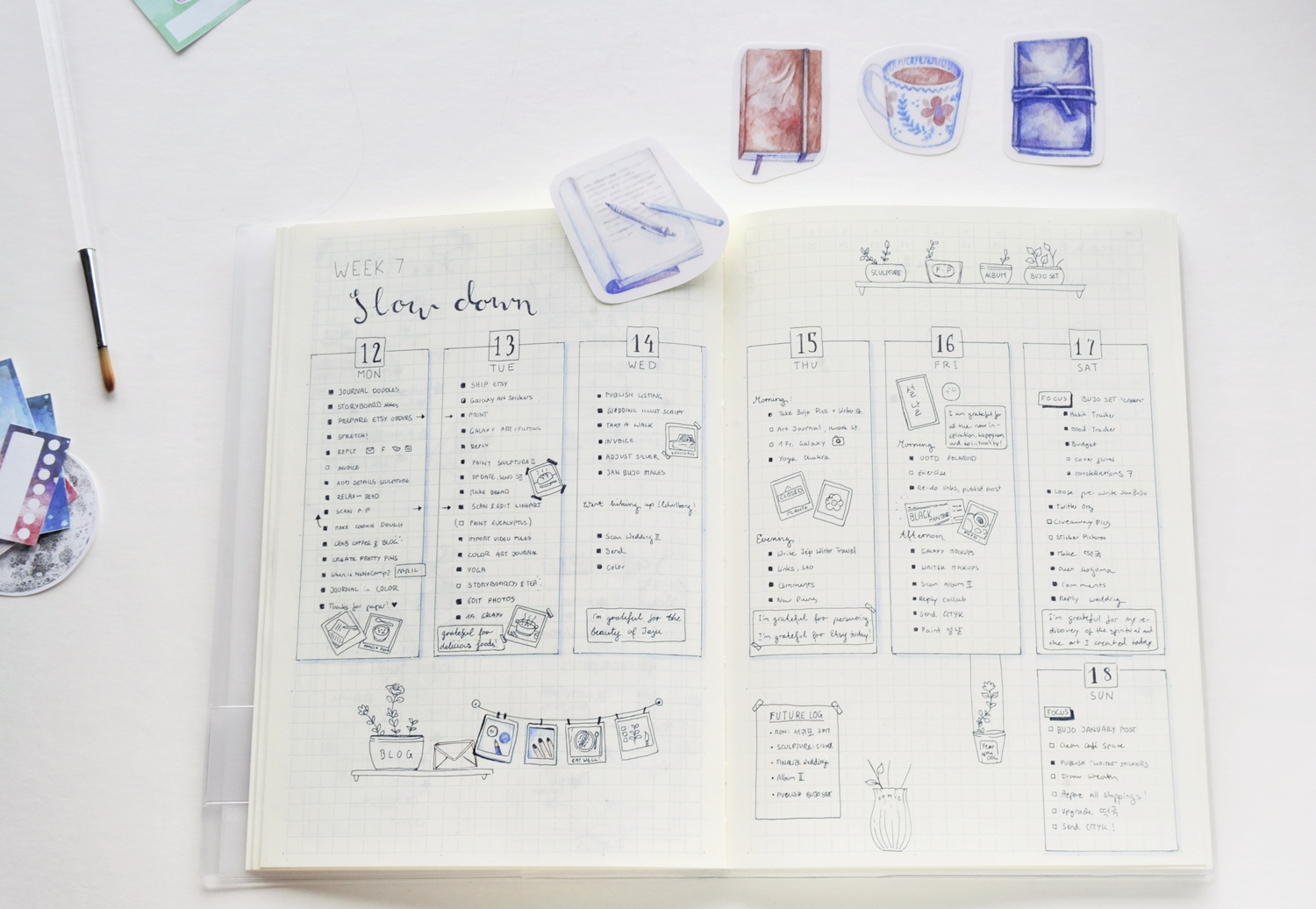 """My Weekly """"Self-Care"""" Bullet Journal Layout  Above you can see the result of that one week during which I focused on getting back on track.  That meant:   Detailed to-do lists that I could breeze through without thinking too hard or getting overwhelmed.  Simple vertical columns to keep the pages clean & minimalist despite the busier little details.  Little Polaroid frame doodles - about two per day for memories & gratitude logs.  Boxes with enough space for a single sentence at the end of each day - again, as a gratitude log and diary.  Flower pots for different projects that I wanted to pursue but that didn't have a concrete deadline. Inspired by my  Pomodoro Technique in my Bullet Journal  post, I added flowers for each finished step on those projects.  Self-care activities in the form of four Polaroid doodles.  """"SLOW DOWN"""" calligraphy at the very top"""
