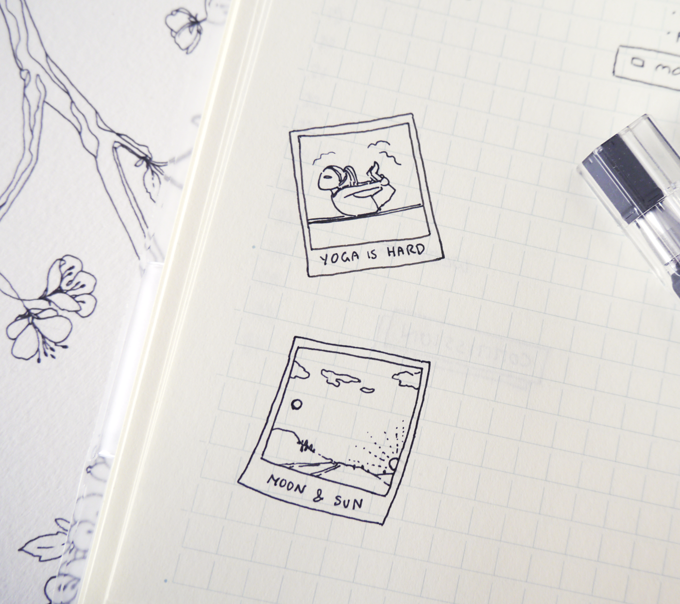 Bullet journal doodles for self-care and mindfulness~ This version of a gratitude log combines small doodle art and written notes to keep track of inspiring, motivating, and just lovely memories.  I made Polaroid picture frame stickers that you can print and put into your planners or journals - having the frames already in my layout makes sure that I actually fill them with doodles!