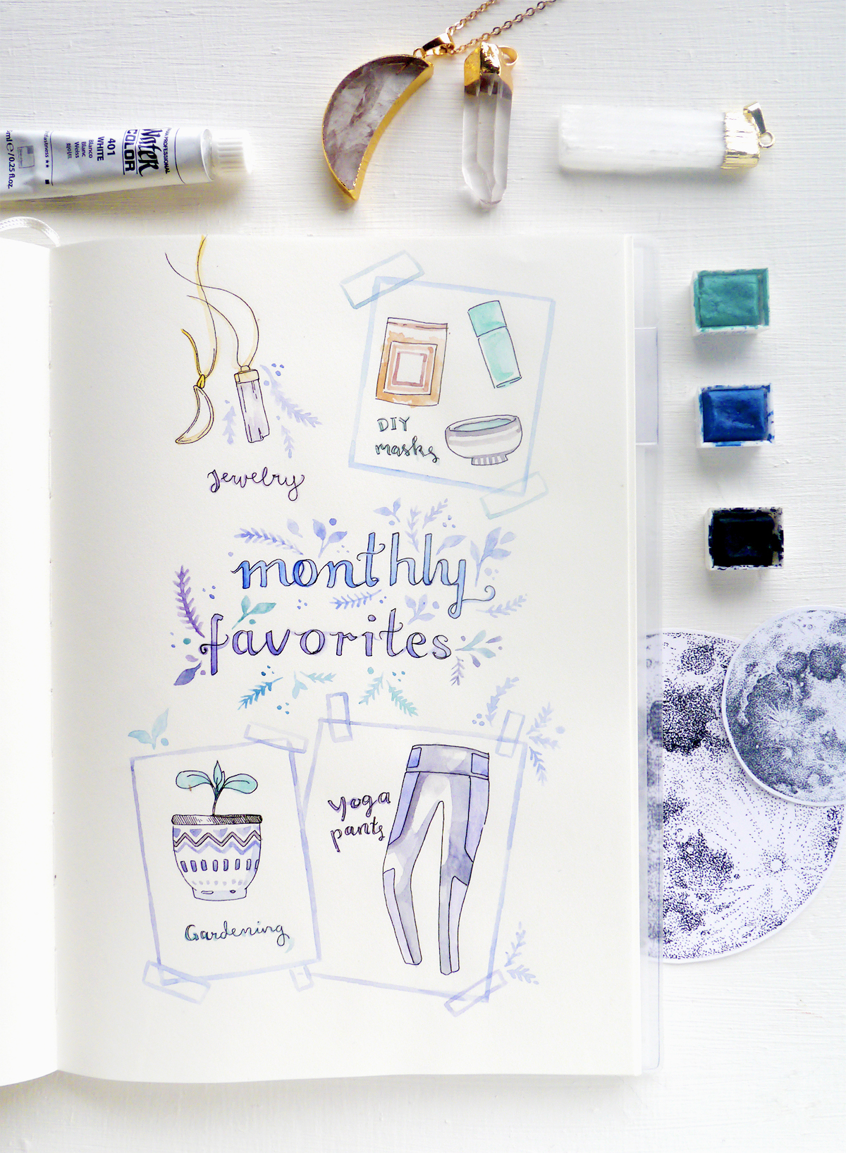 It's been a while since I listed my monthly favorites, so when I needed a little break, the moment was perfect for this sketch in my art journal!  April went by so quickly but with  lots of creative drive  - and as I'm trying to balance that creativity with work, daily life, and health, I came up with these favorite little things here.