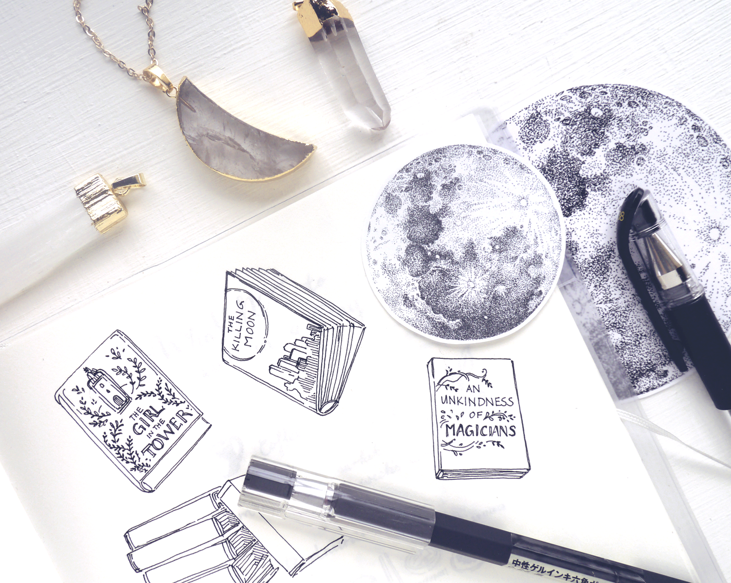 Book Doodle Art in my Midori Bullet Journal: This year with more tiny details, miniature book cover drawings, and lots of book recommendations! Get a better look at my bullet journal yearly collections, creative journaling ideas, and art materials in review on my blog~