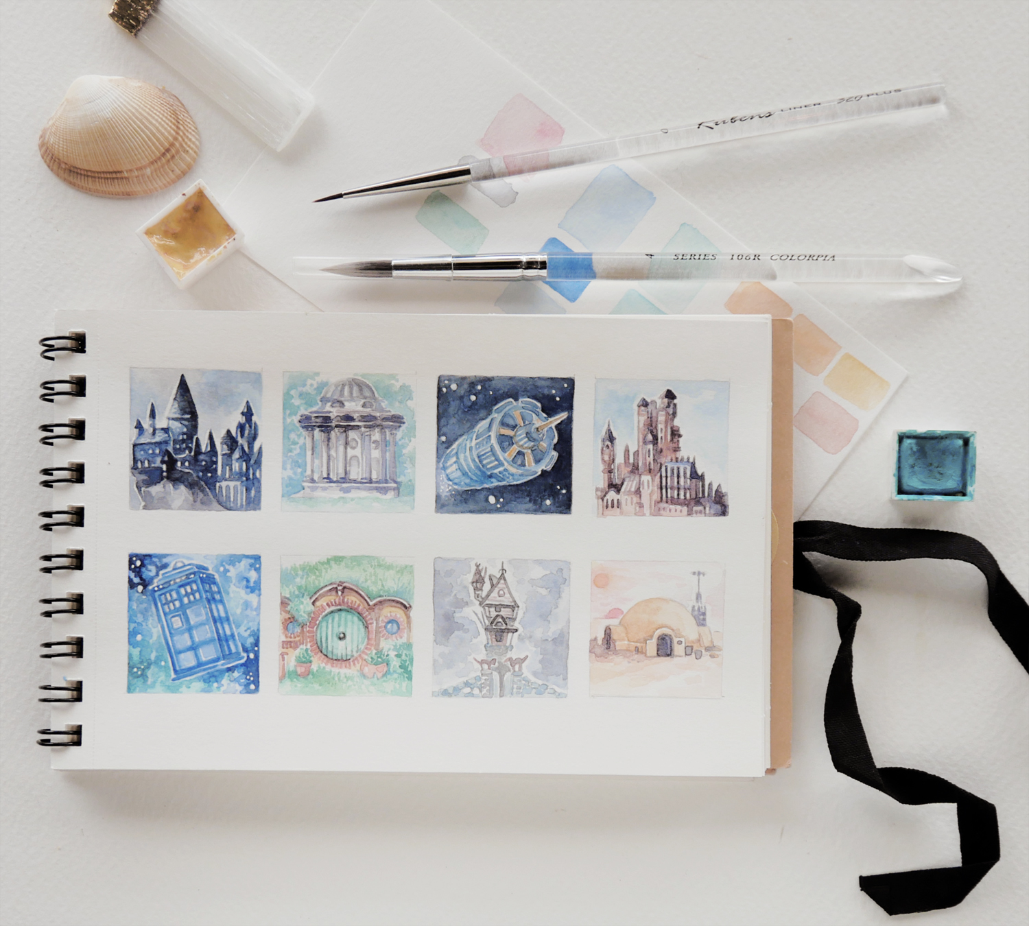 "This is a page from my sketchbook for a different art challenge - the 3x3 thumbsup art tag! Tiny drawings on squares of 3 by 3 cm.   I chose the theme ""house"" for the whole month and loved drawing differerent places, both real and fictional."