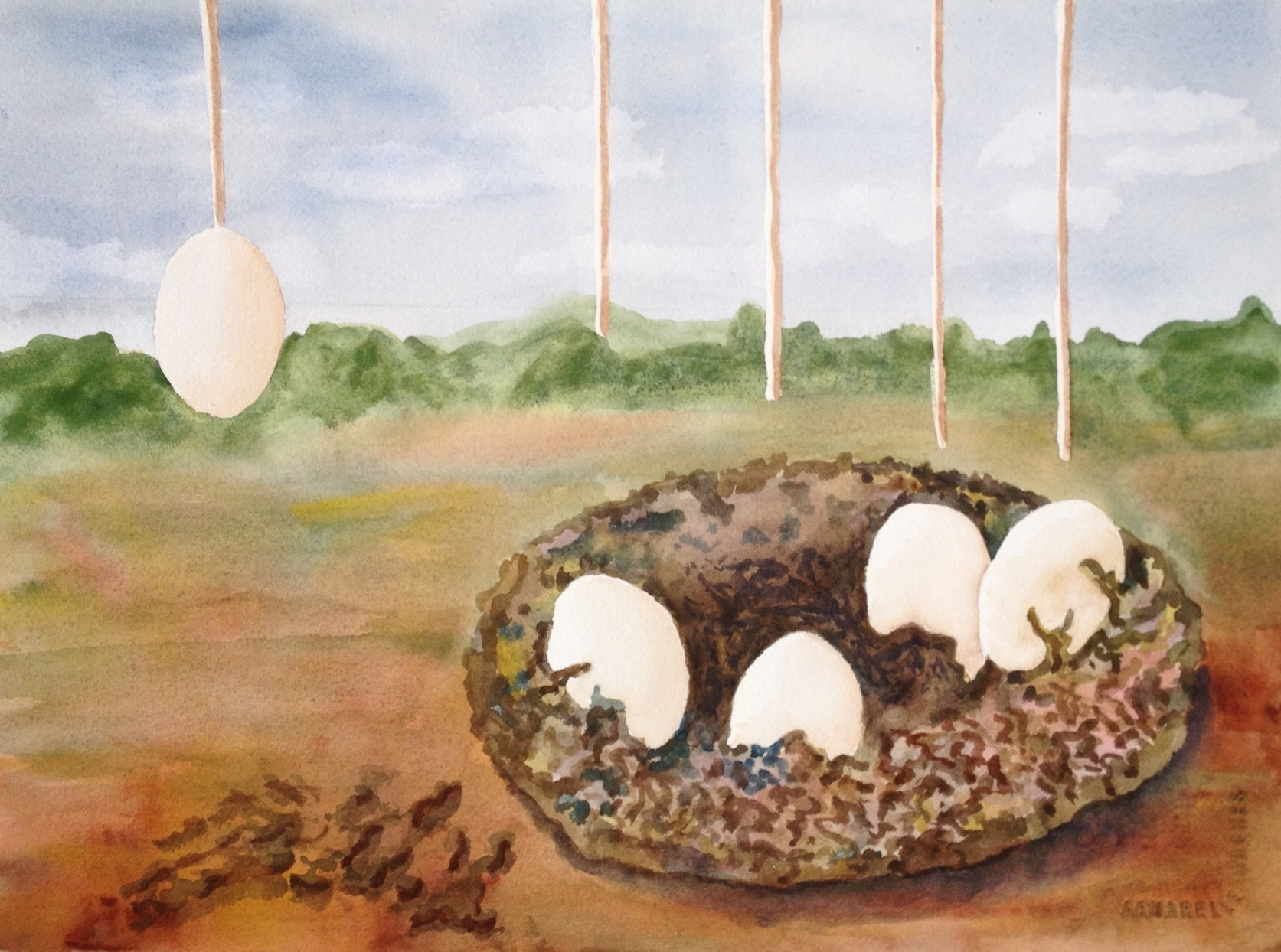 "Sibling Eggs in a Nest | 11""x 14"" 