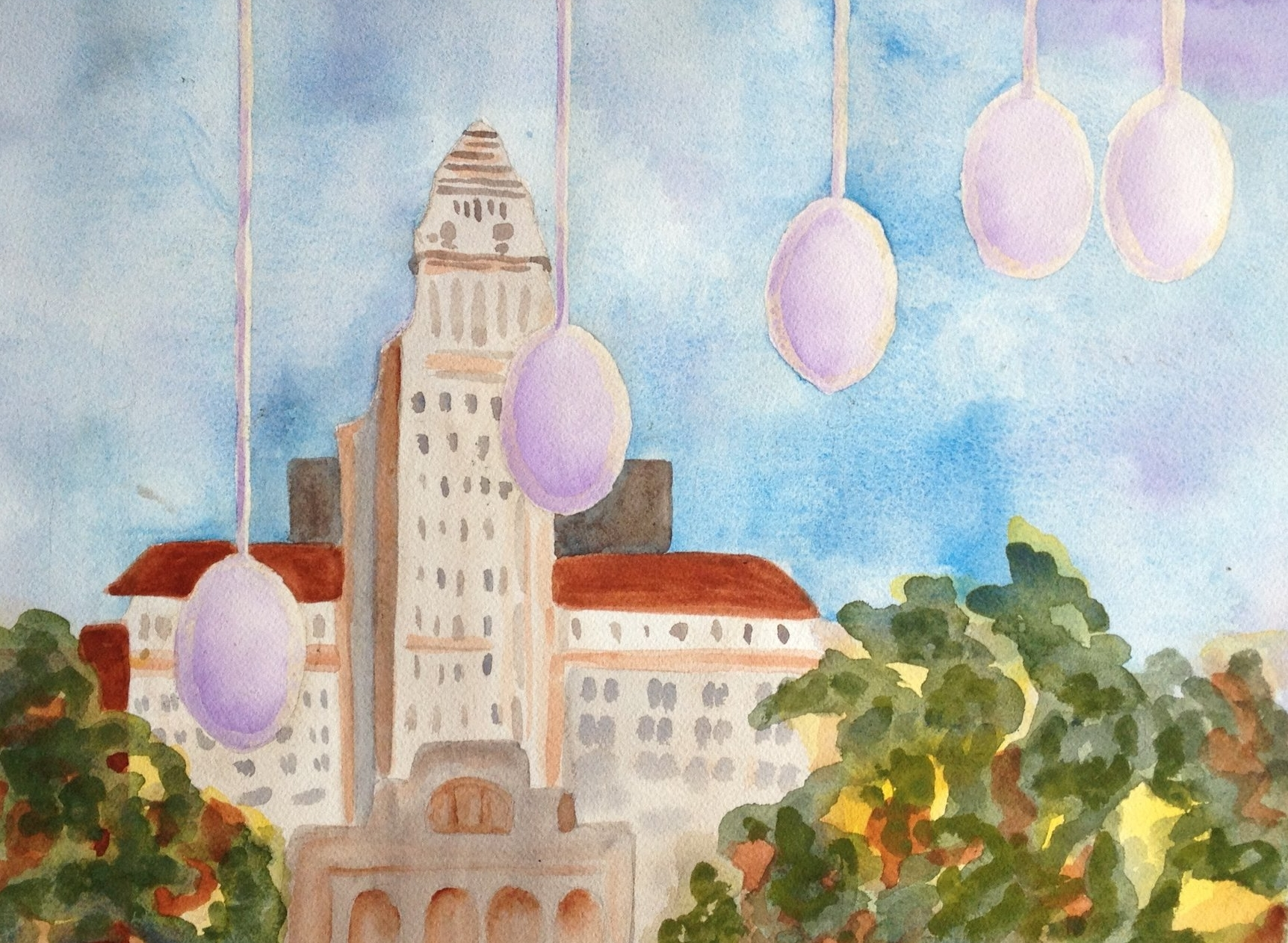 "Sibling Eggs at City Hall | 11""x 14"" 