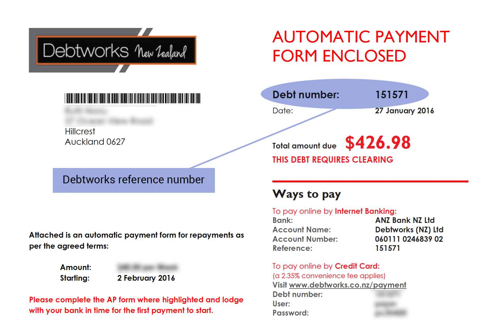 Debtworks Debt Number. Click to enlarge.