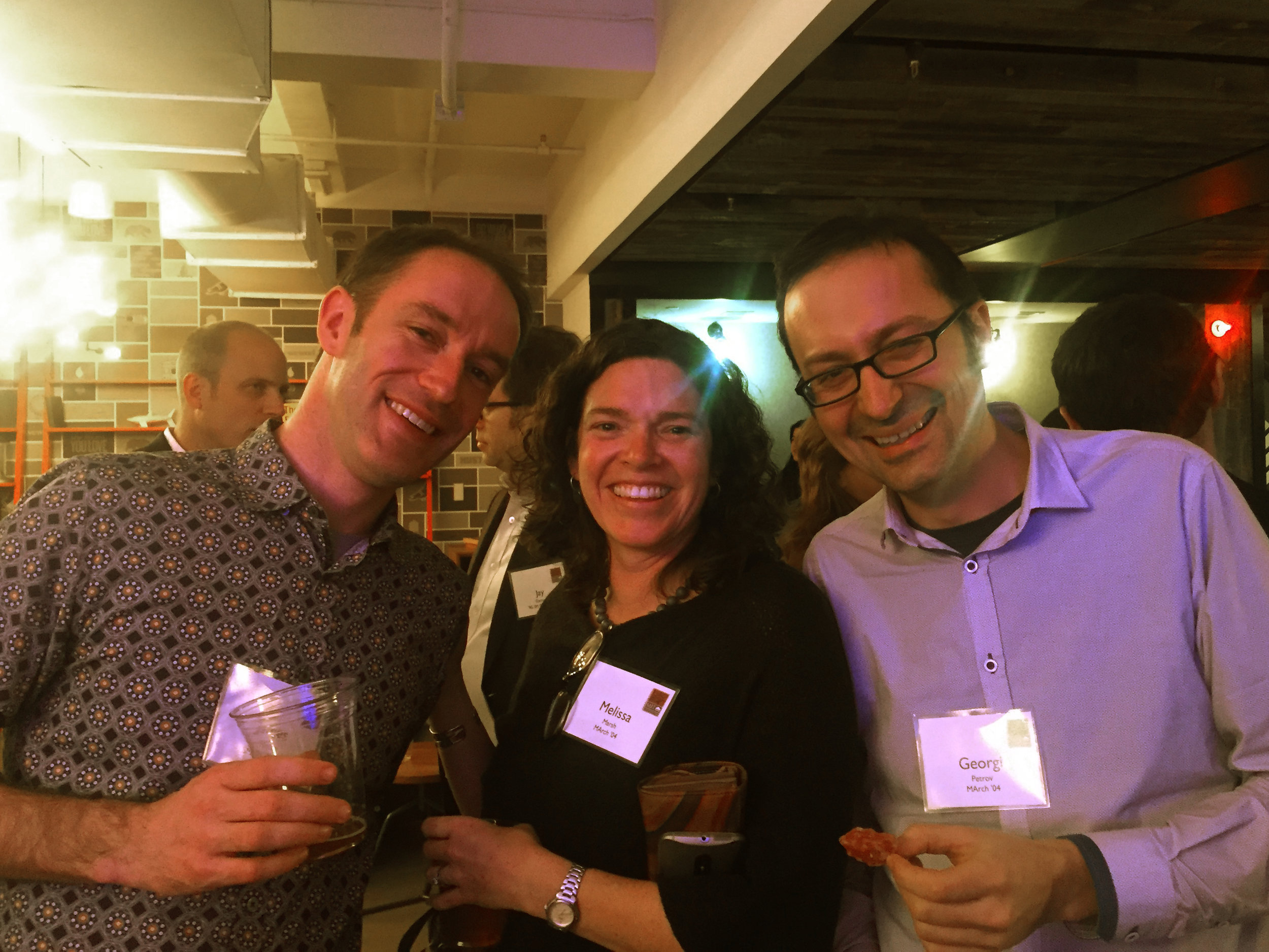 James Patten SMArchS 01; Melissa Marsh M.Arch '04; and Georgi Petrov MArch '04 at the reception prior to the event.