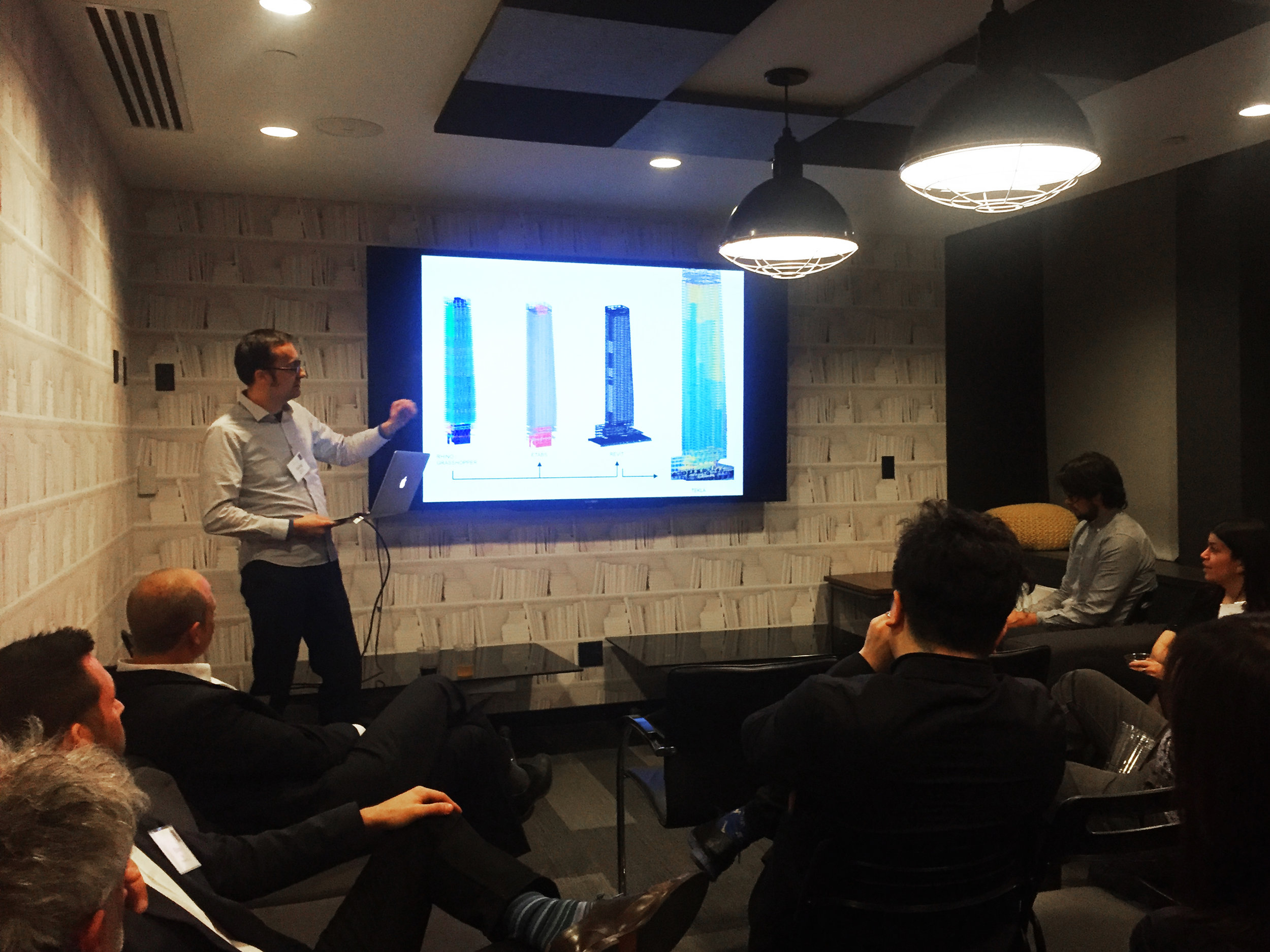 Georgi Petrov MArch '04 presenting recent examples of his structural engineering work for high-rises.