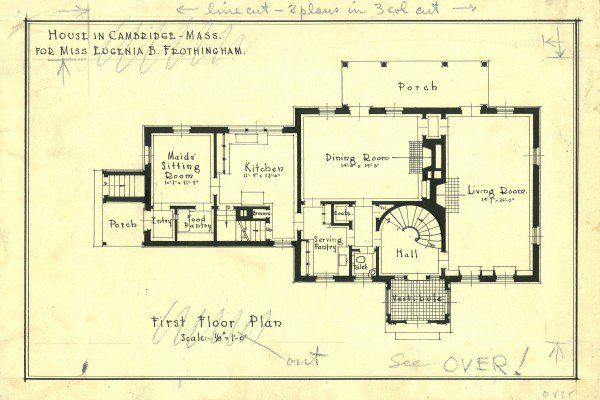 A blueprint of a Cambridge house designed by Howe, Manning & Almy.