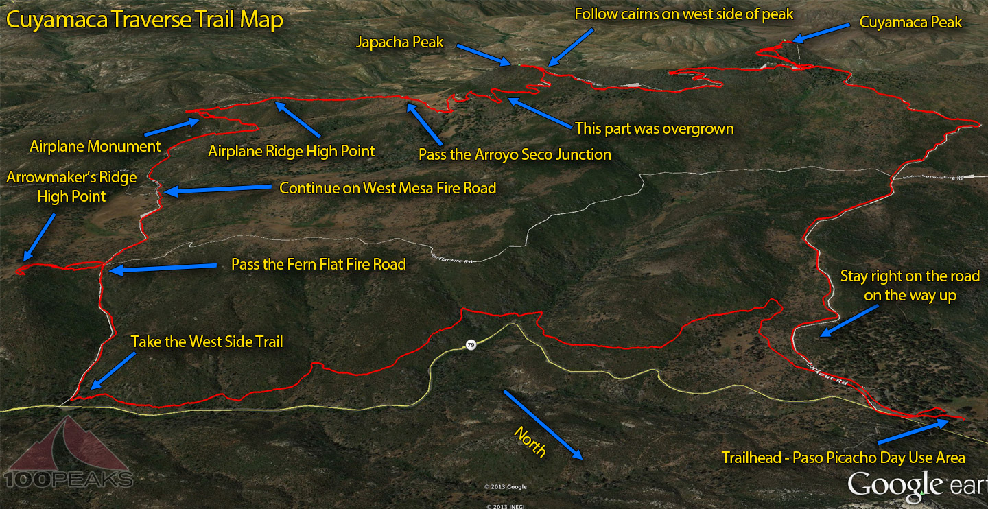 Cuyamaca Traverse Trail Map