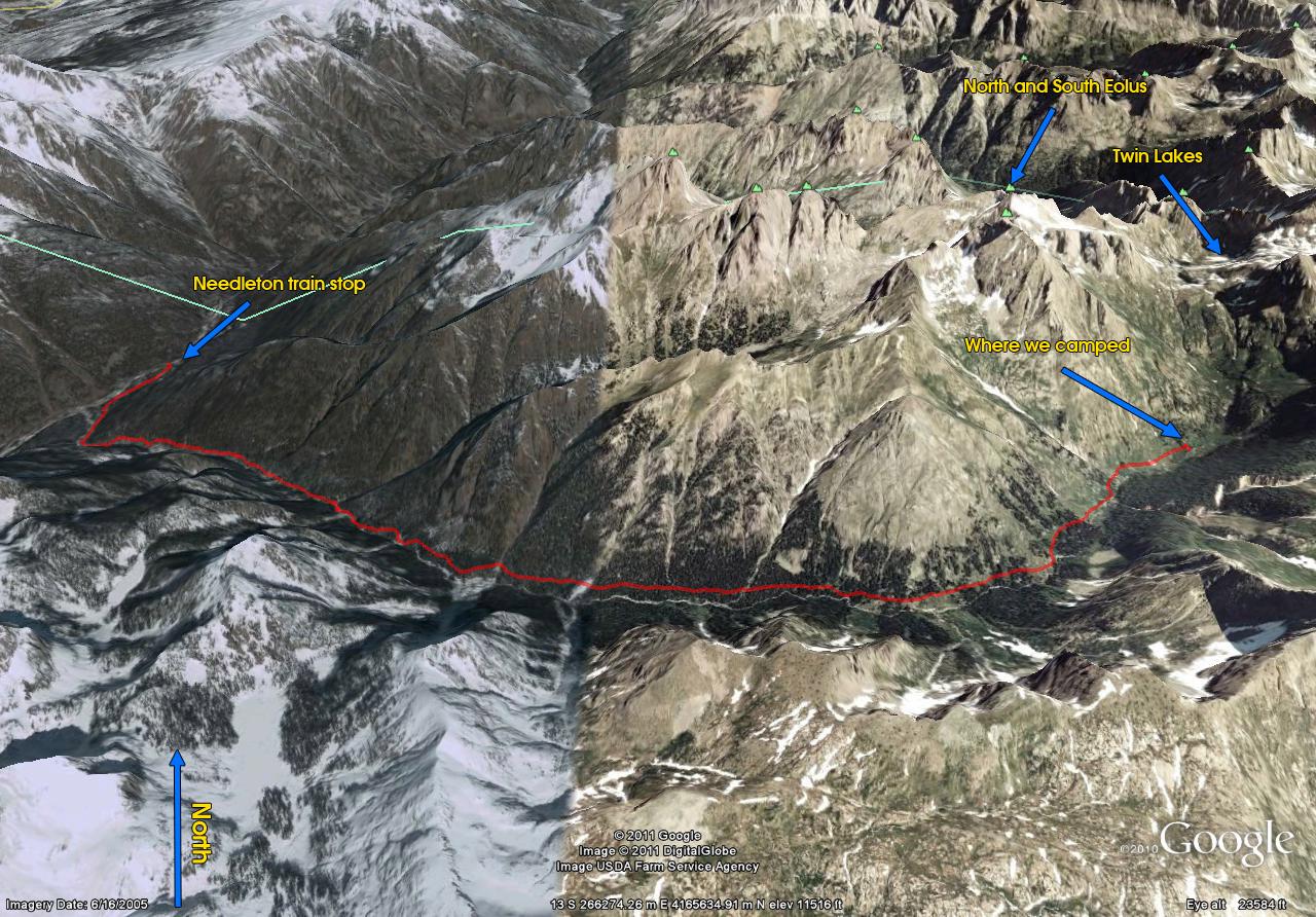 Needleton to Chicago Basin Trail Map