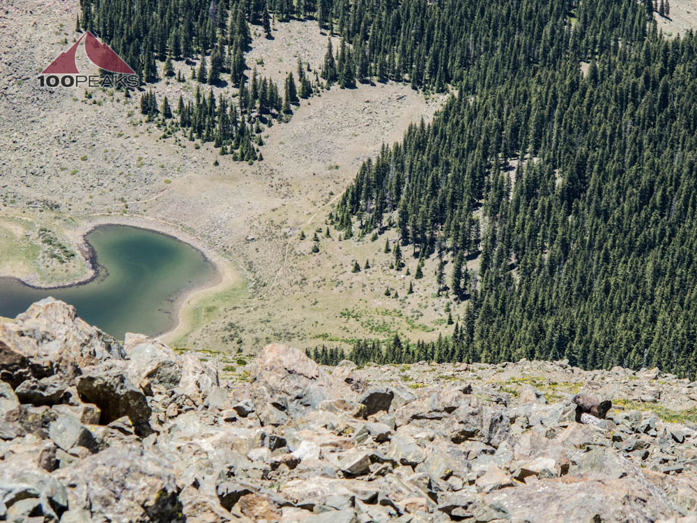From Wheeler Peak, you can see our tent to the right of the lake and trail at the edge of the tree line