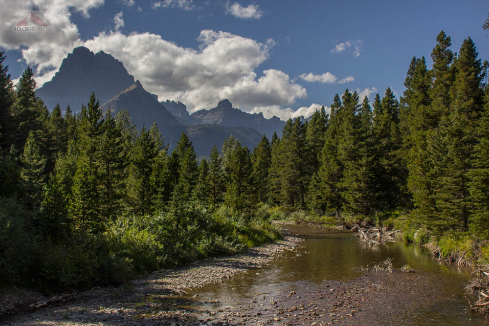 Mount Wilbur and Iceberg Peak from Swiftcurrent Creek
