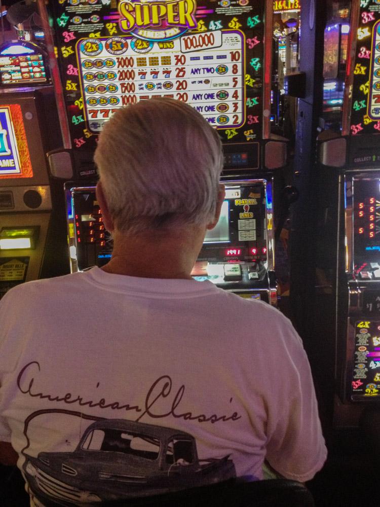 Papa playing the slots at the Paiute Palace Casino