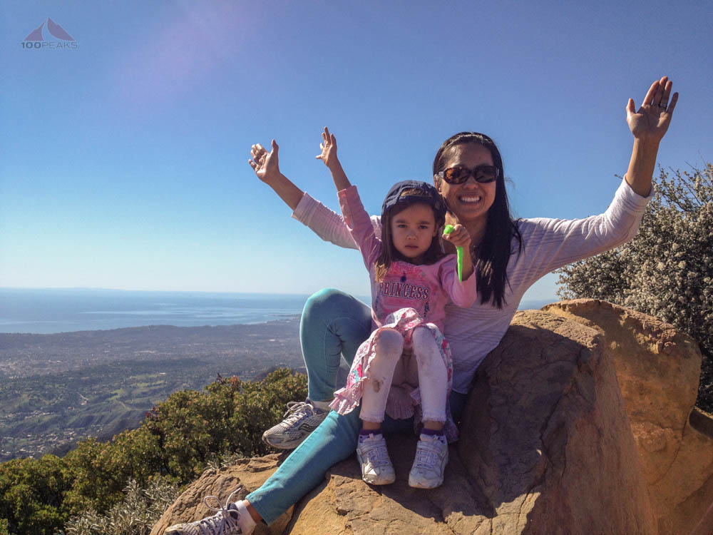 Sophia and mom at the top (and Buddy)