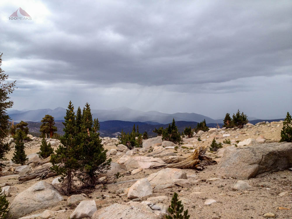 The rain, approaching Chicken Spring Lake and the PCT