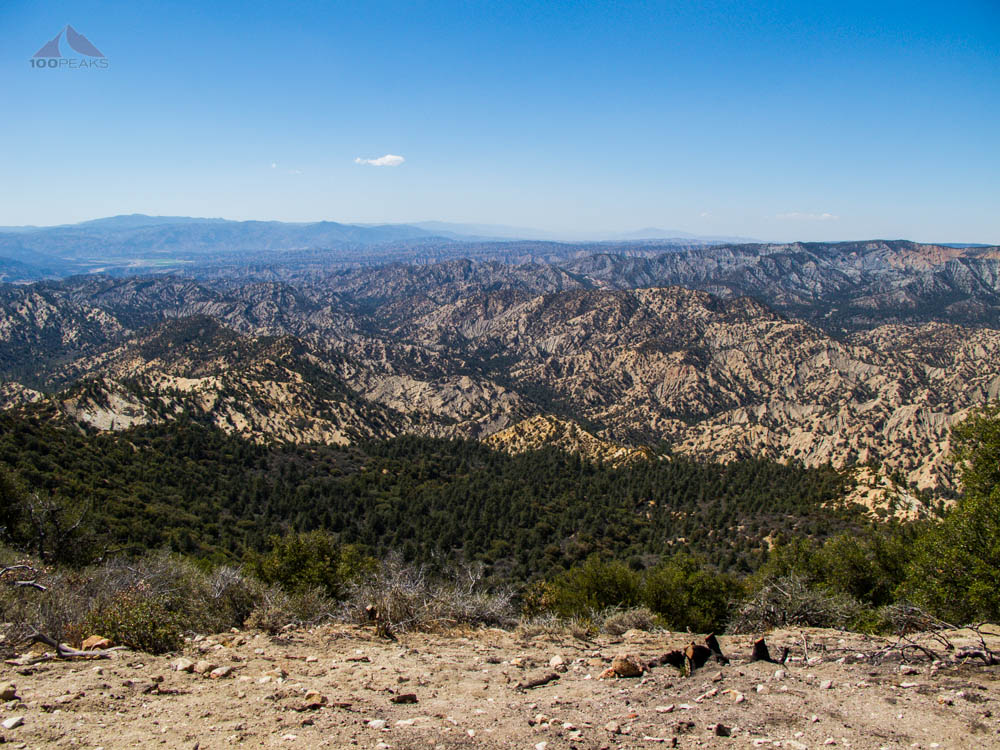 The view west from San Guillermo Mountain to Wagon Park Canyon
