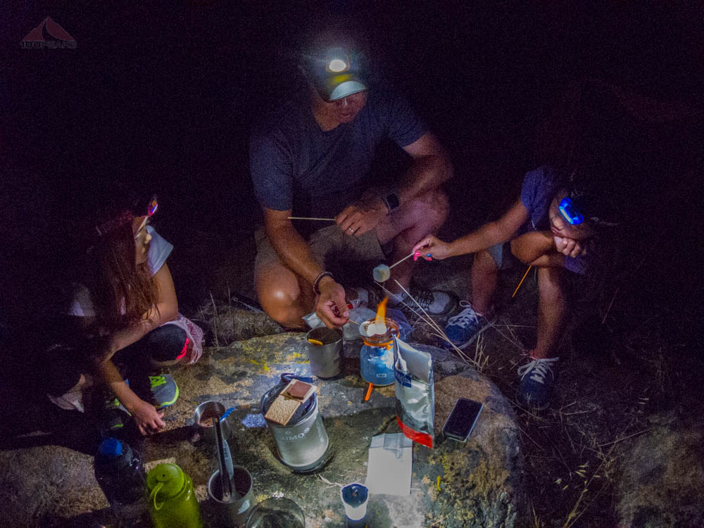 Making s'mores over the Jetboil