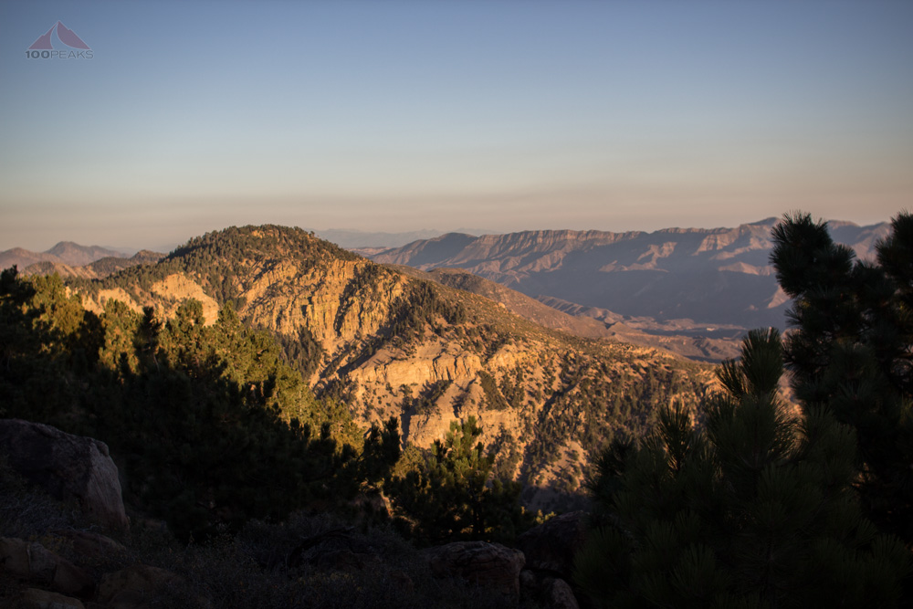 Haddock Mountain in the sunset from Reyes Peak