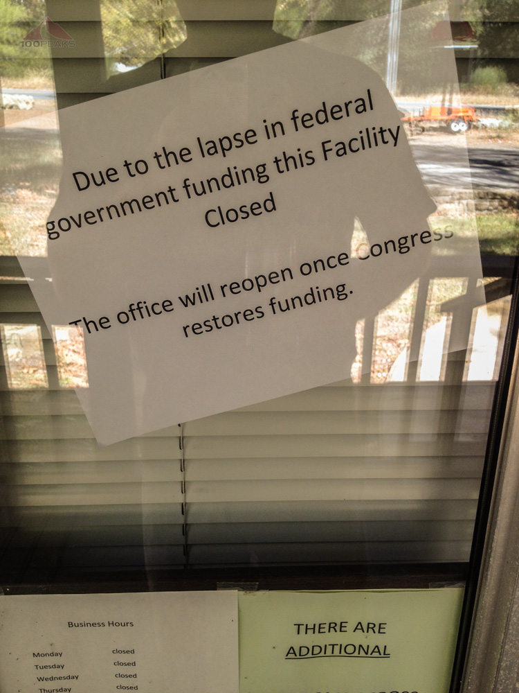 Sign at the Wheeler Gorge Visitor Center reflecting the federal shutdown