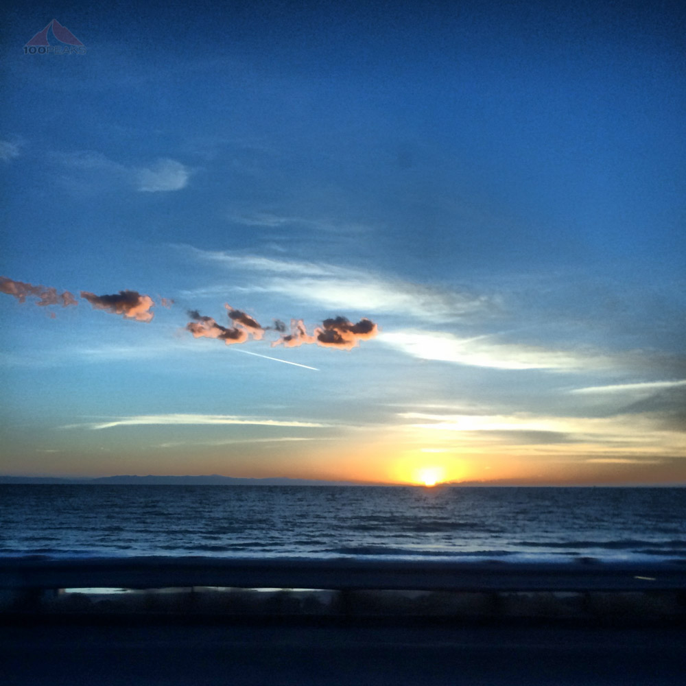 Sunset between Carp and Ventura, taken by Soph from a moving vehicle