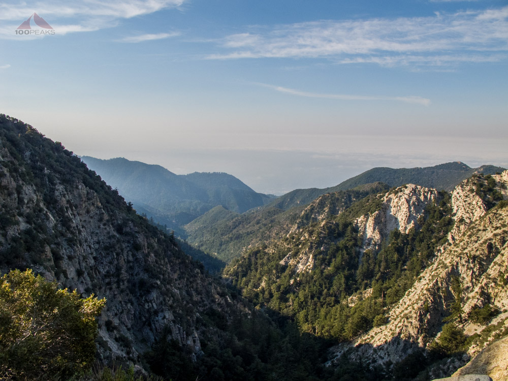 The view from the trail in San Gabriel Mountains