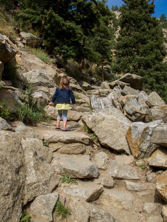 Sophia Hiking to Boulder Falls in Colorado