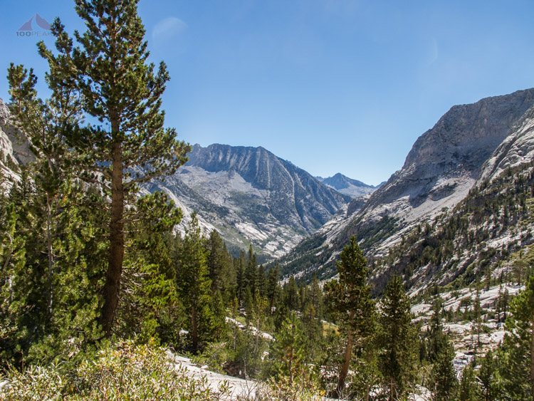 Coming back down Le Conte Canyon with Columbine Peak in the distance