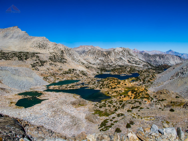 Halfway up Bishop Pass looking north, with slanting Mount Goode on the left