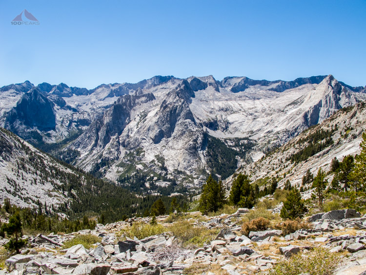 Our view while descending from Dusy Basin into Le Conte Canyon