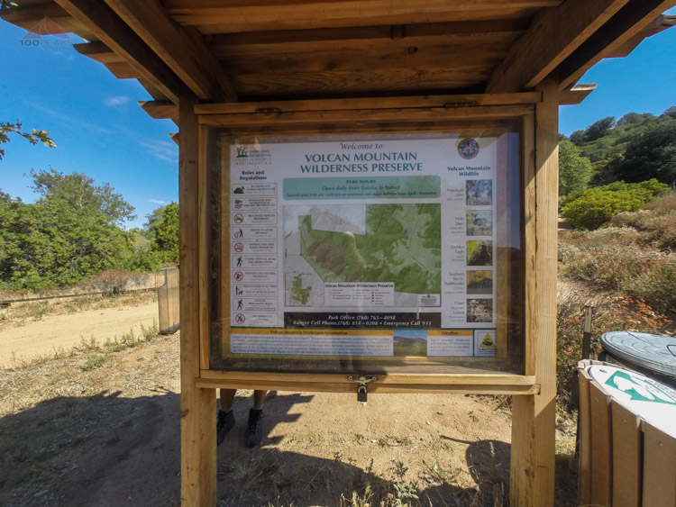 The Volcan Mountain trailhead sign