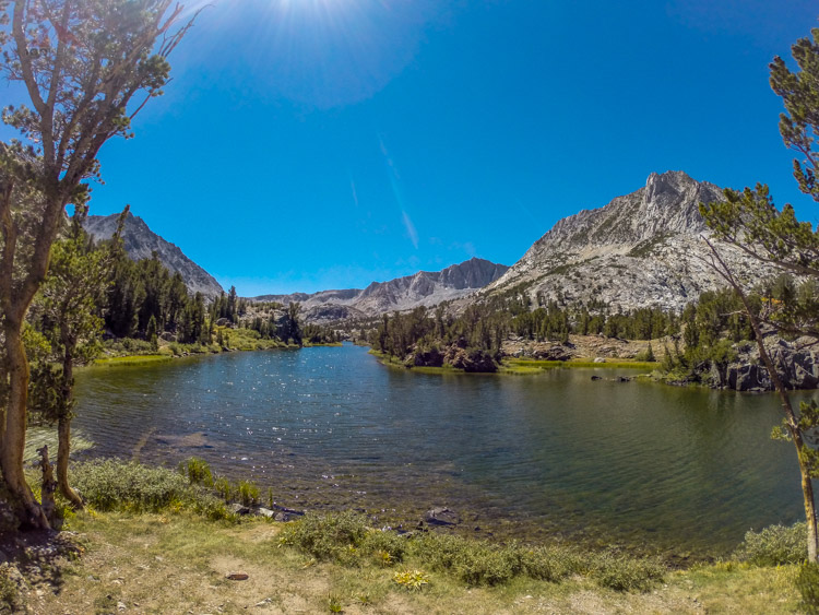 here we had lunch, at the north end of Long Lake, Hurd Peak on the right