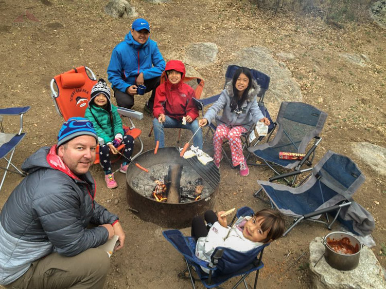 Morning Campfire in Cuyamaca - Dads and daughters