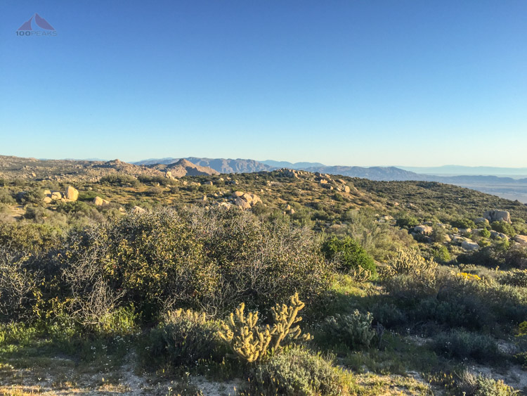 The view north from thr trailhead, Sombrero Peak in the distance