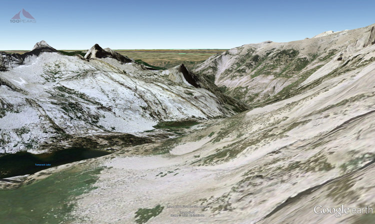 Google Earth view from the green ledges