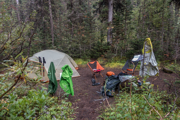 Our secluded Helmet Creek campsite - trying to dry everything