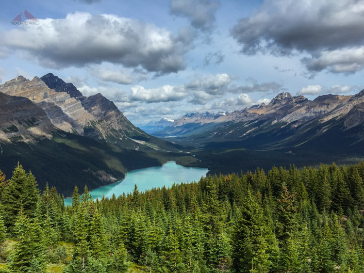 Peyto Lake and the Misaya River Valley