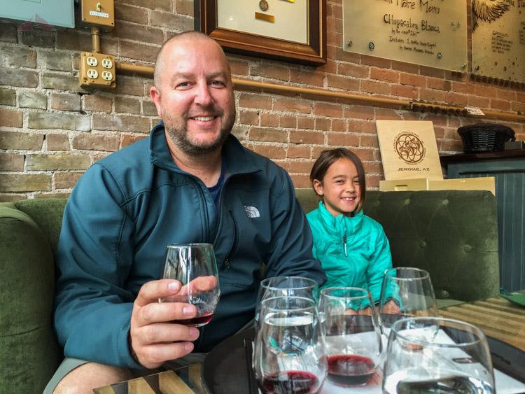 Enjoying Maynard's wine at Caduceus Cellars in Jerome