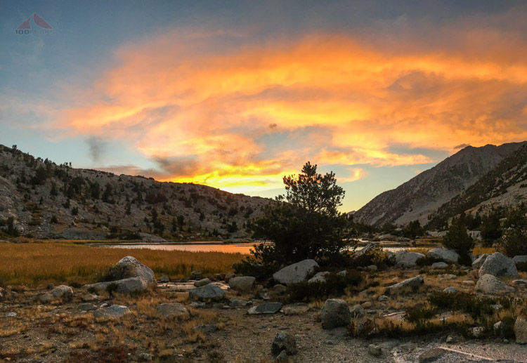 Sunset from the campsite in Lower Dusy Basin