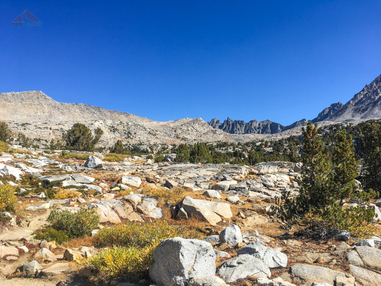Looking up to Bishop Pass from Upper Dusy Basin