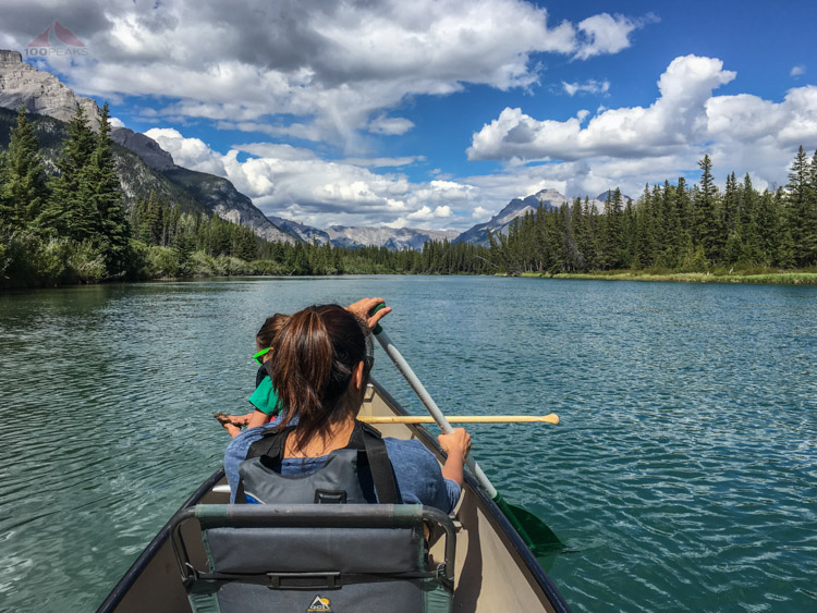 A gorgeous day for canoeing on the Bow River in Banff