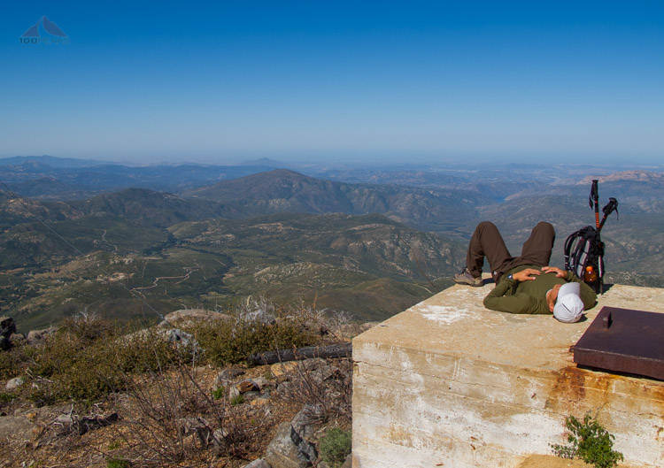 The PD resting on Cuyamaca Peak with Viejas Mountain in the distance