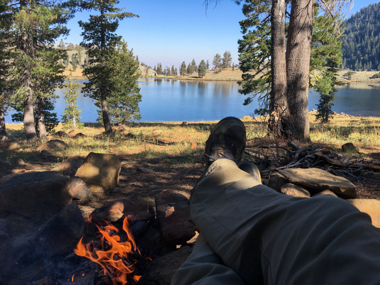 Our first morning at our East Boulder Lake Campsite in the Trinity Alps
