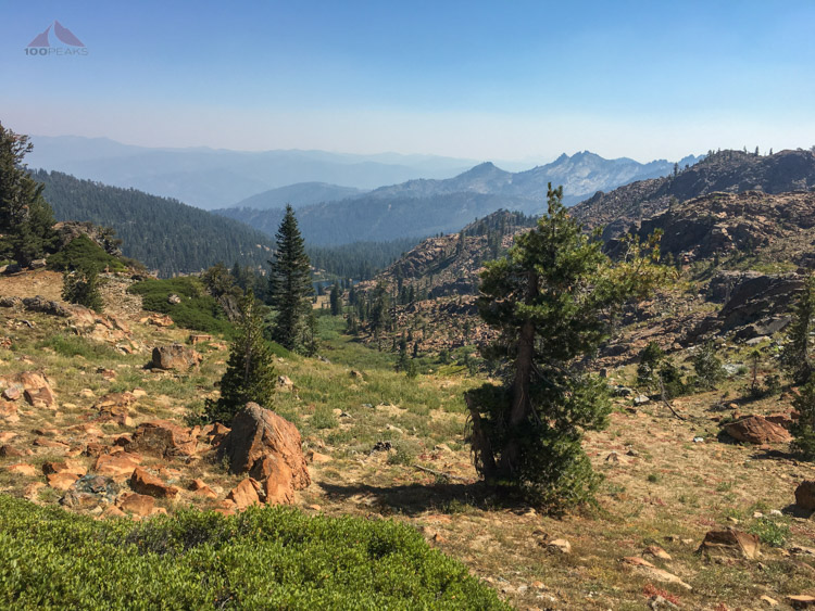 Looking down to Big Marshy Lake from the PCT.