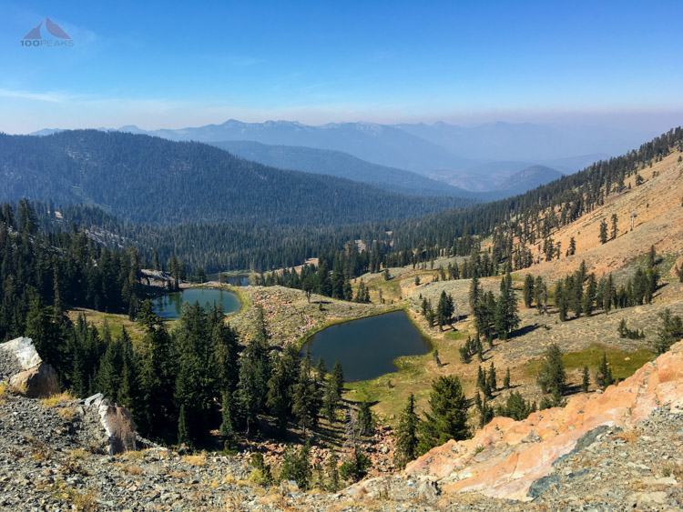 Looking down into the Middle Boulder Lake drainage from the PCT