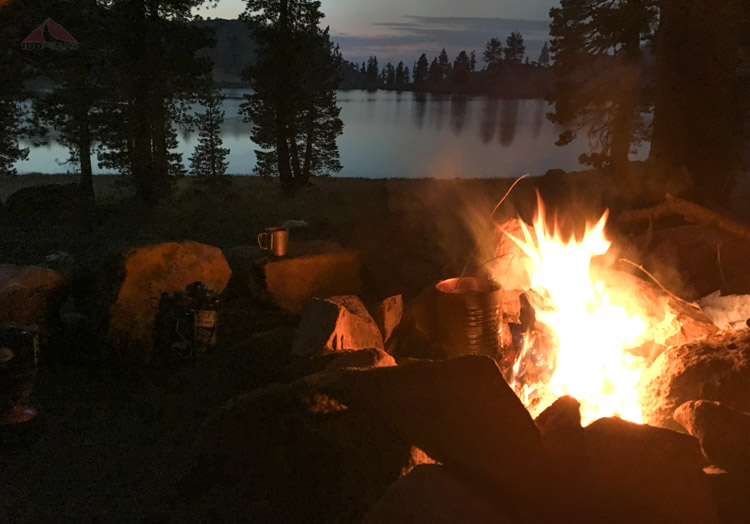 Campfire alongside East Boulder Lake