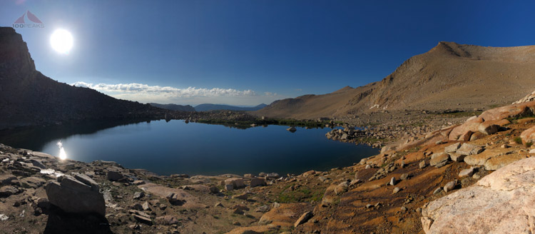 High Lake Pano - My tent is an orange dot to the right of the lake.jpg