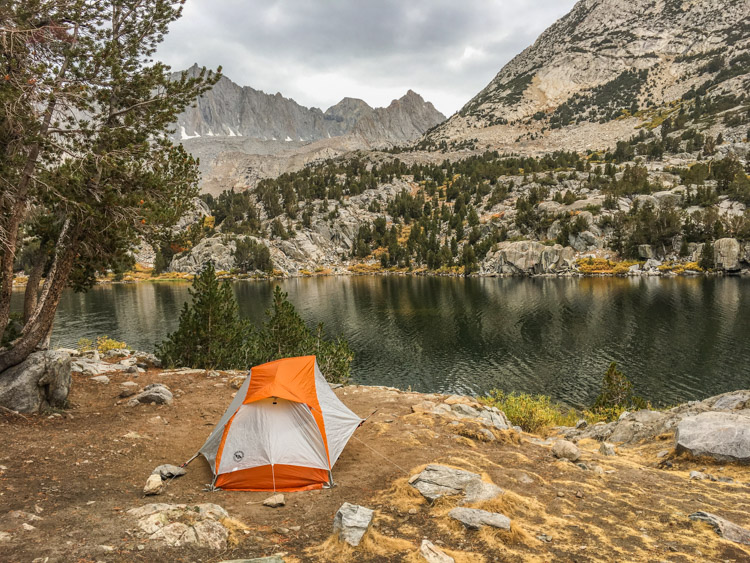 The one-person Copper Spur is also comfortable and very light. Long Lake, Sierra Nevada, 2018