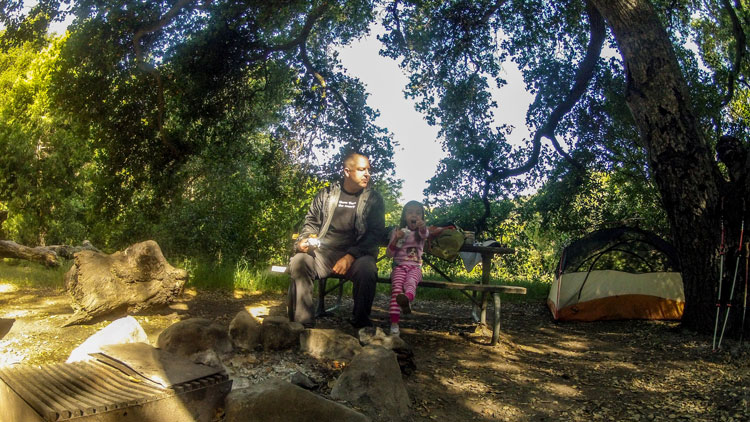 Soph and I on her first backpacking trip in the Santa Barbara area