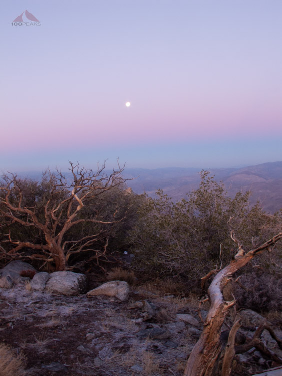 Moon in the sunrise on the way to Rabbit Peak