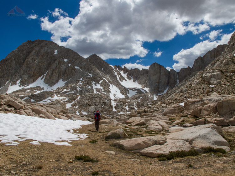 Heading up to Crabtree Pass, Mount Newcomb to the left